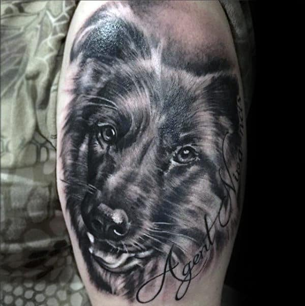 Cool German Shepherd Upper Arm Shaded Mens Tattoos