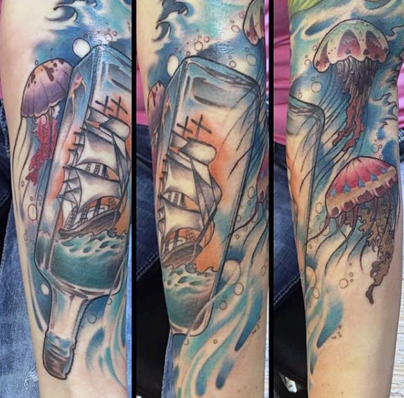 Cool Glass Ship In A Bottle Male Forearm Tattoos