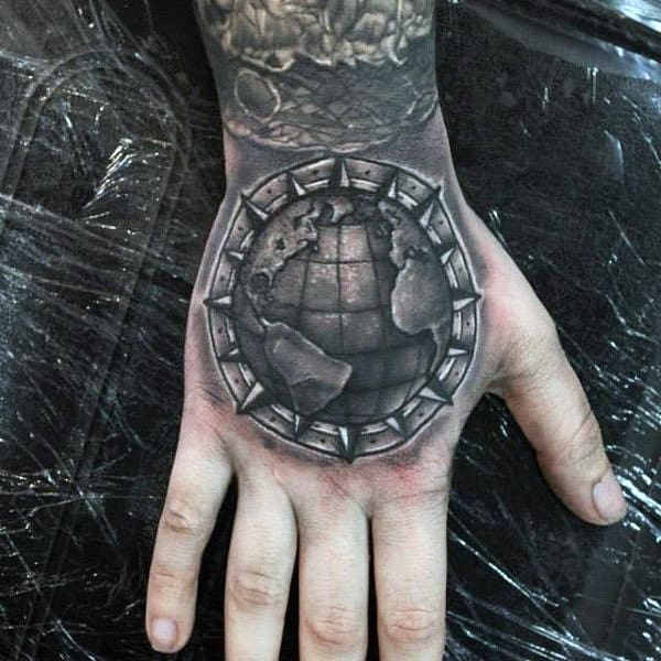 Cool Globe Hand Tattoo On Amel