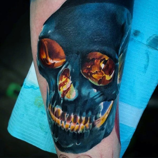 Cool Glowing Blue Flaming Skull Tattoo Design Ideas For Male On Arm