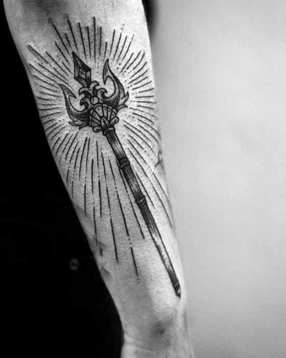 Cool Glowing Trident Outer Forearm Tattoo Design Ideas For Male