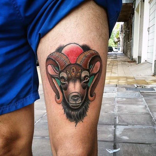 Cool Goat Mens Thigh Tattoos