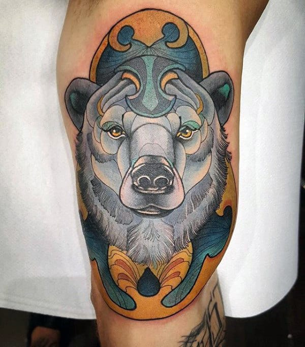 Cool Gold And Blue Polar Bear Mens Inner Arm Bicep Tattoos