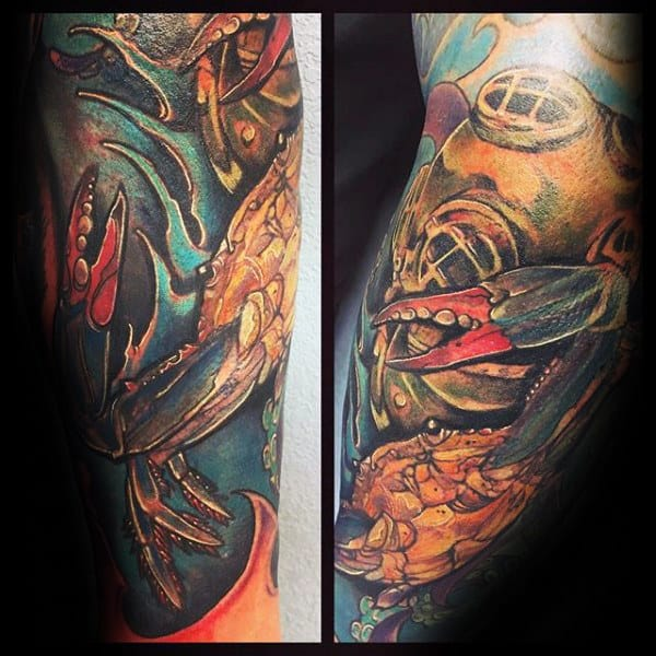 Cool Gold Diving Helmet With Crab Mens Sleeve Tattoo