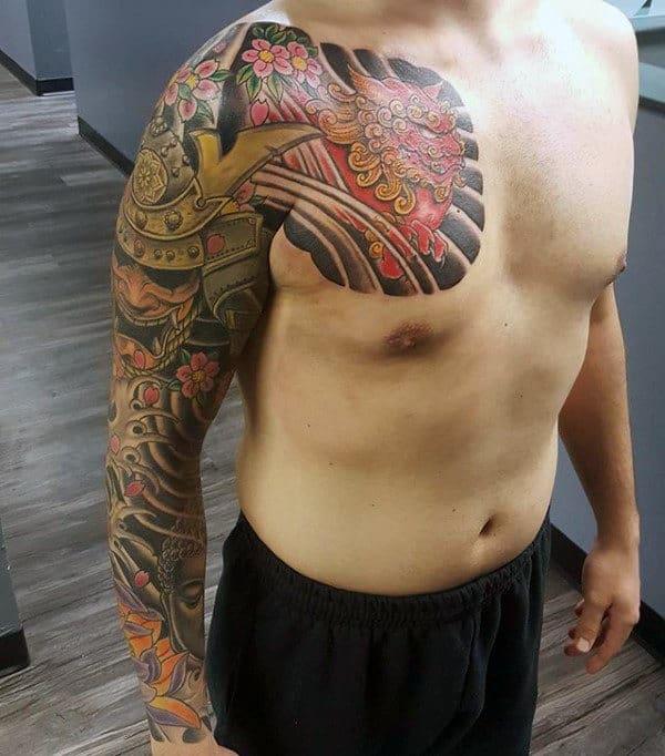 Cool Gold Kabuto Mens Samurai Helmet Full Sleeve Japanese Tattoos