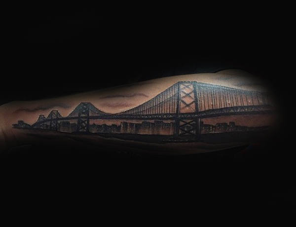 Cool Golden Gate Bridge Guys California Forearm Sleeve Tattoo