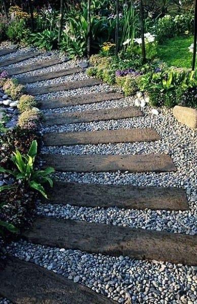 Cool Gravel Walkway With Wood Beams
