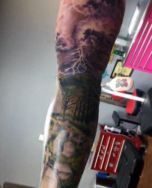 Cool Graveyard Men's Tattoo Sleeve