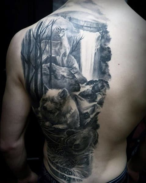 Cool Grayish Tattoo Of Waterfall And Beasts Mens Back