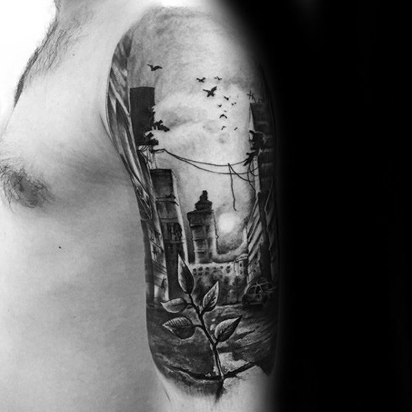 Cool Great City Buildings With Tiny Plant Tattoo Design Ideas For Males Half Sleeve