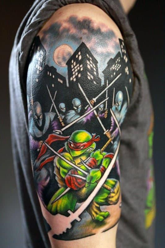 70 teenage mutant ninja turtle tattoo designs for men for Ninja turtles tattoo