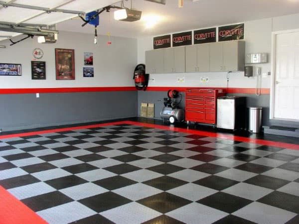 Cool Grey And Red Garage Paint Ideas