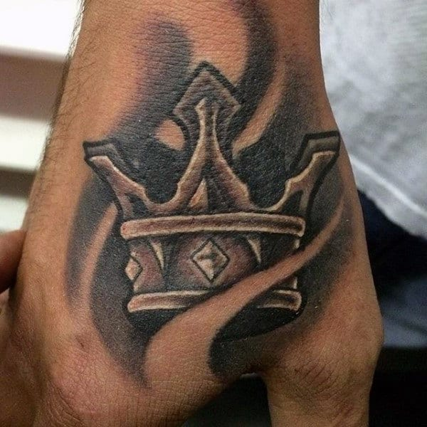 Cool Grey Crown Tattoo On Hands For Guys