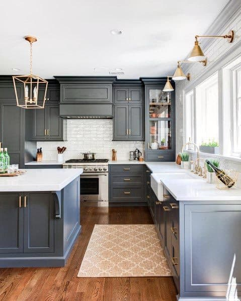 Cool Grey Kitchen With Hardwood Floors