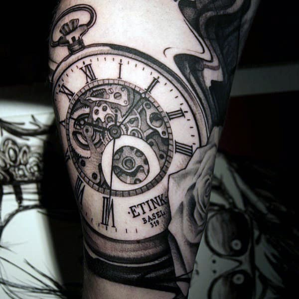 Cool Grey Mechanical Clock Tattoo Guys Upper Arms