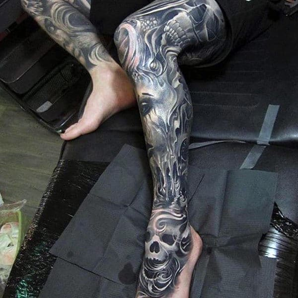 Cool Grey Tattoo Male Full Legs
