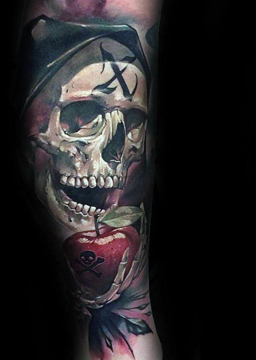 Cool Grim Reaper With Apple Mens Forearm Sleeve Tattoos