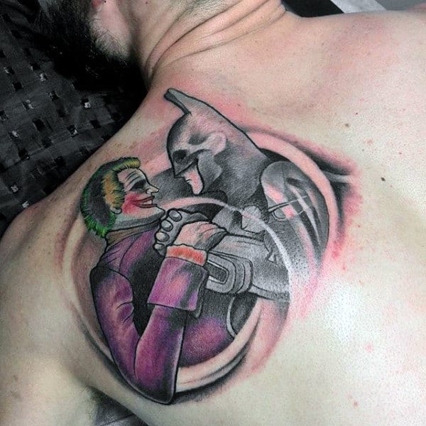 Cool Guys Batman Joker Tattoos On Back Of Shoulder Blade