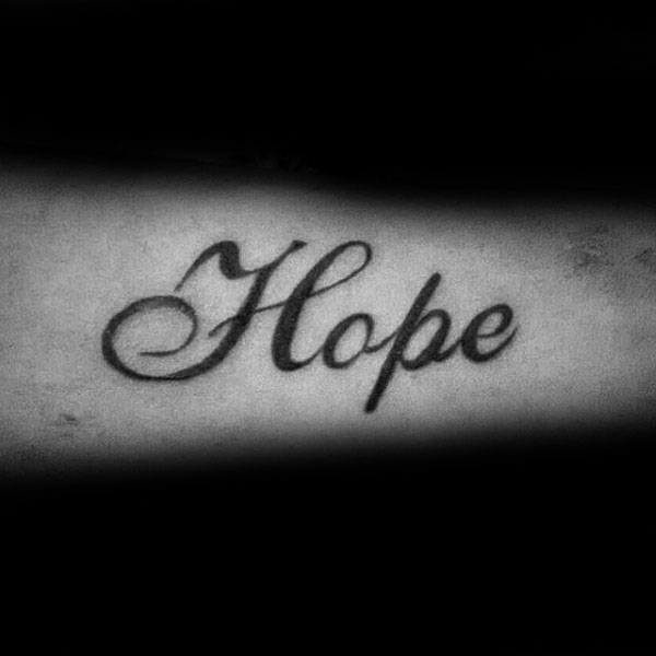 Cool Guys Black Ink Hope Word Tattoo Design