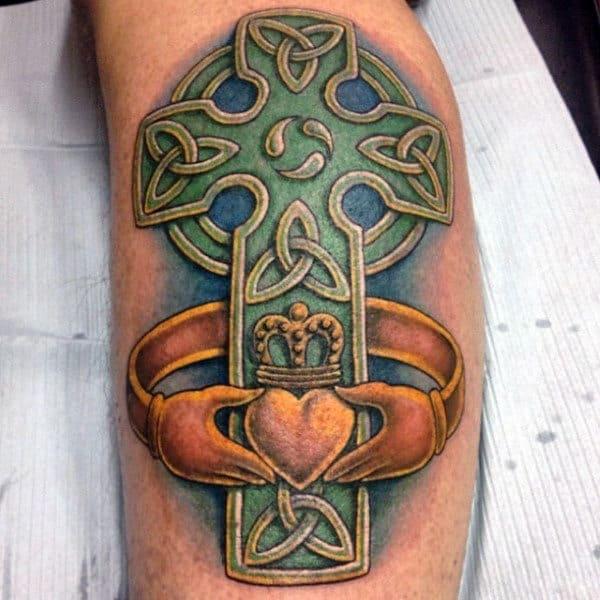 Cool Guys Celtic Cross Back Tattoos On Leg