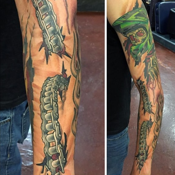 Cool Guys Chain Motocross Tattoo Designs Sleeve
