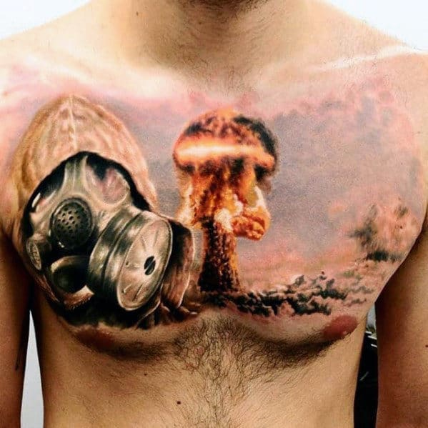 Cool Guys Chest Atomic Bomb Tattoos With 3d Design