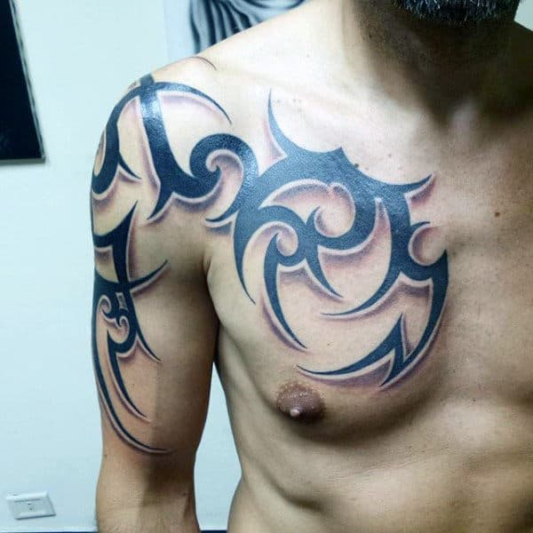 Cool Guys Chest Tribal Tattoos