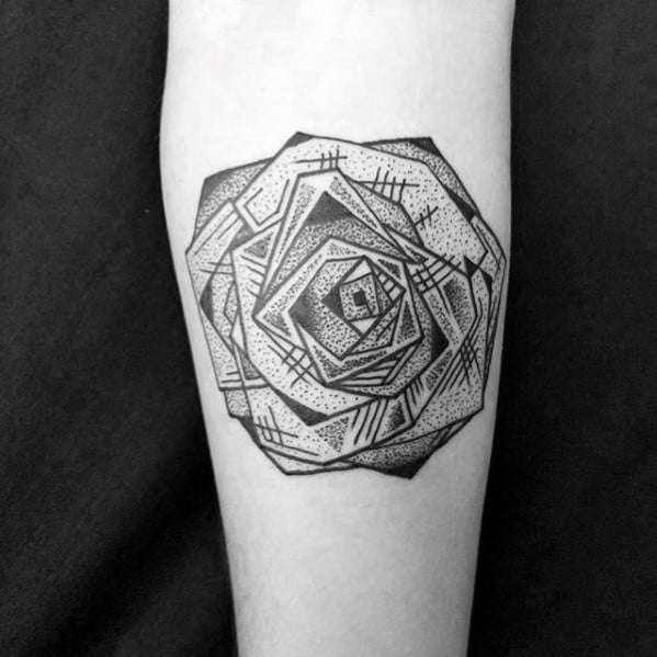 Cool Guys Detailed Geometric Rose Tattoo Design On Inner Forearm