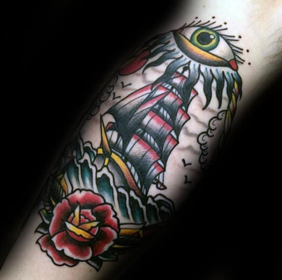 Cool Guys Eye Ship Inner Forearm Traditional Old School Tattoos