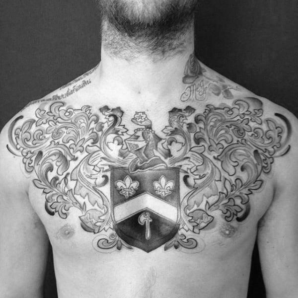 Cool Guys Fleur De Lis Family Crest Chest Tattoos