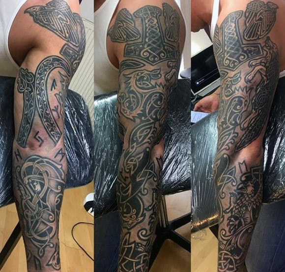 Cool Guys Full Arm Tattoo Celtic Sleeve Design