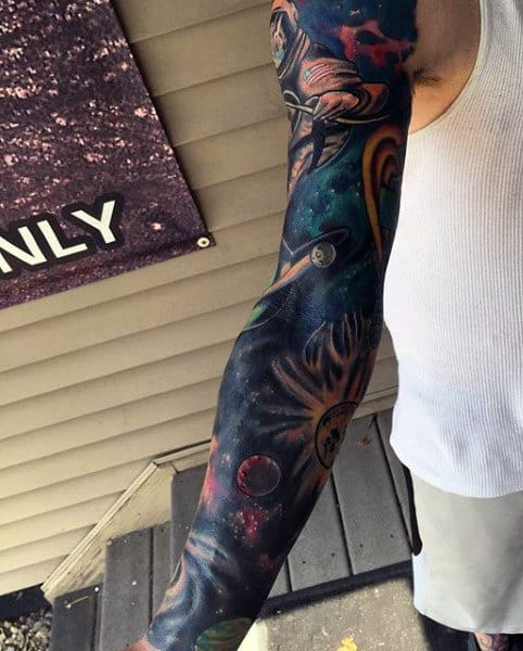 Cool Guy's Full Sleeve Star Tattoos