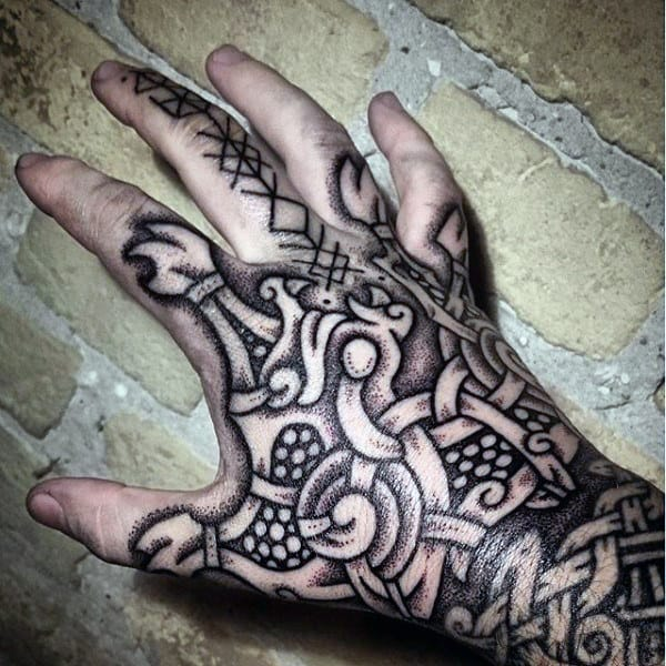 Cool Guys Hand Norse Runes Tattoo Ideas