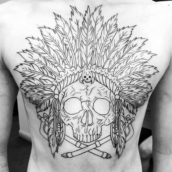Cool Guys Indian Skull Back Tattoo With Black Ink Outline Design