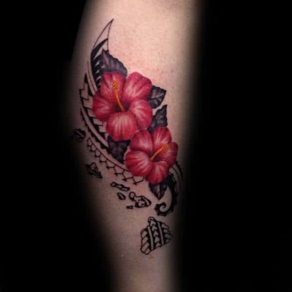 Cool Guys Islands Hibiscus Flower Tribal Tattoos