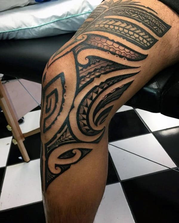 Cool Guys Knee And Thigh Hawaiian Tribal Tattoos