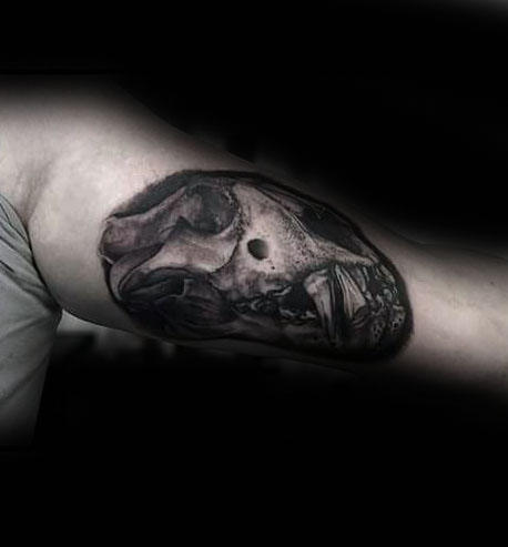 Cool Guys Lion Skull Inner Arm Bicep Tattoo Design Ideas