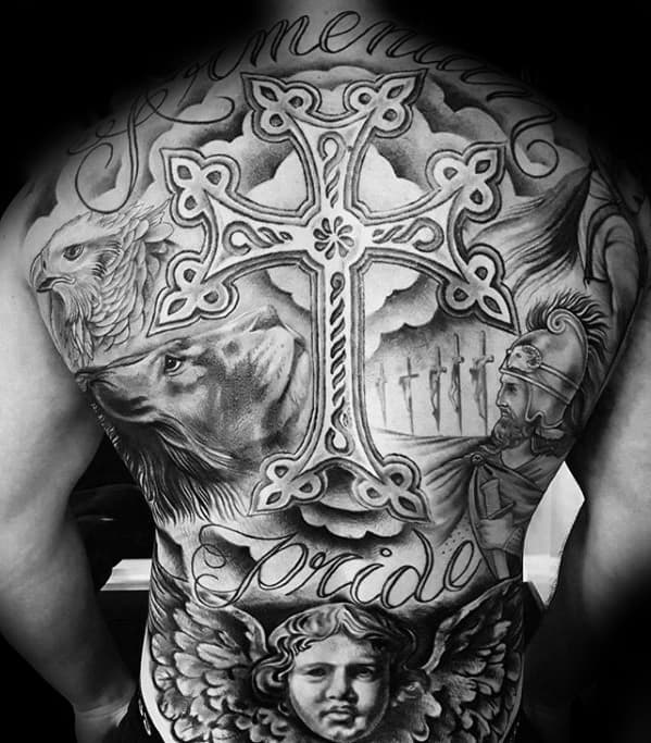 Cool Guys Ornate 3d Cross Shaded Tattoo On Back