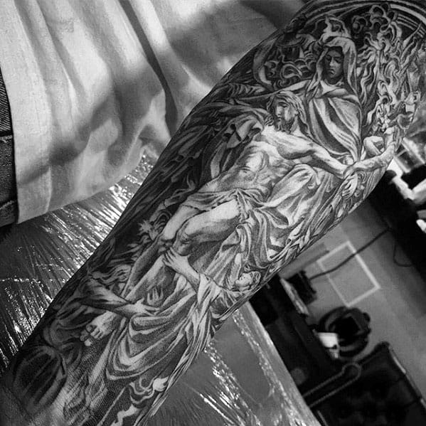 Cool Guys Ornate Detailed Jesus Tatoo Sleeve Ideas