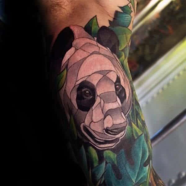 Cool Guys Panda Bear Half Sleeve White And Green Ink Tattoo