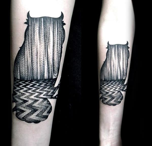 Cool Guys Pattern Twin Peaks Inner Forearm Tattoo