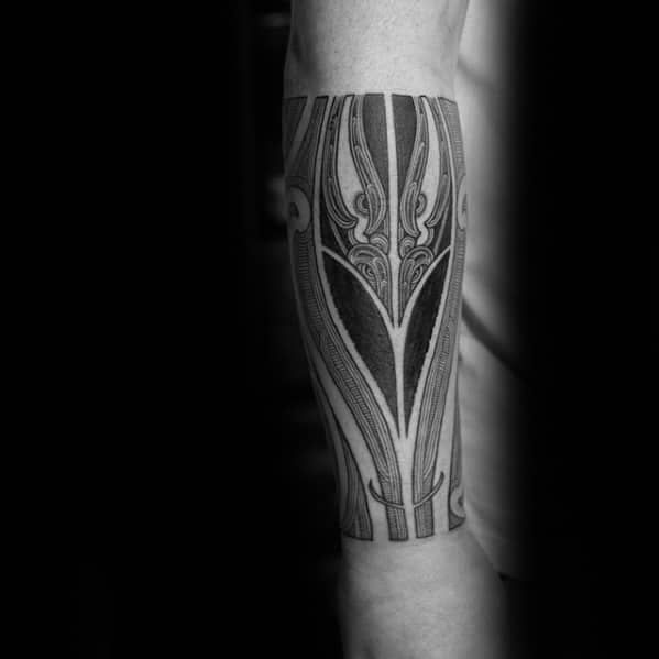 Cool Guys Polynesian Tribal Tattoo Designs On Forearm