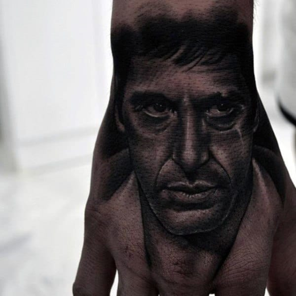 Cool Guys Scarface Hand Tattoos