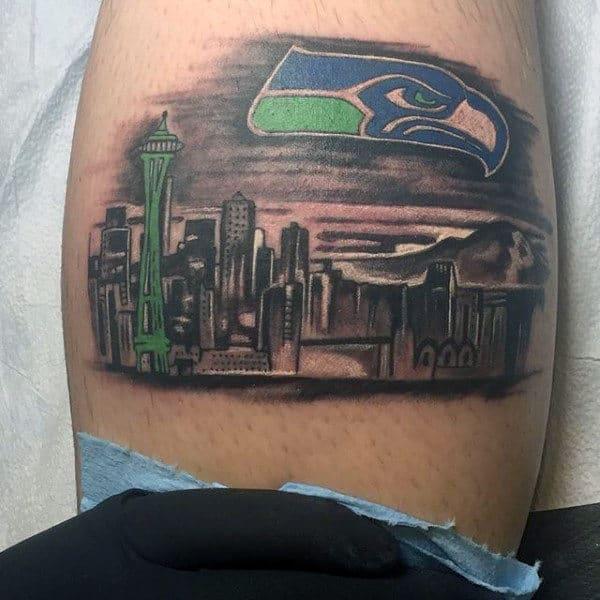 Cool Guys Seattle Skyline Leg Calf Tattoos