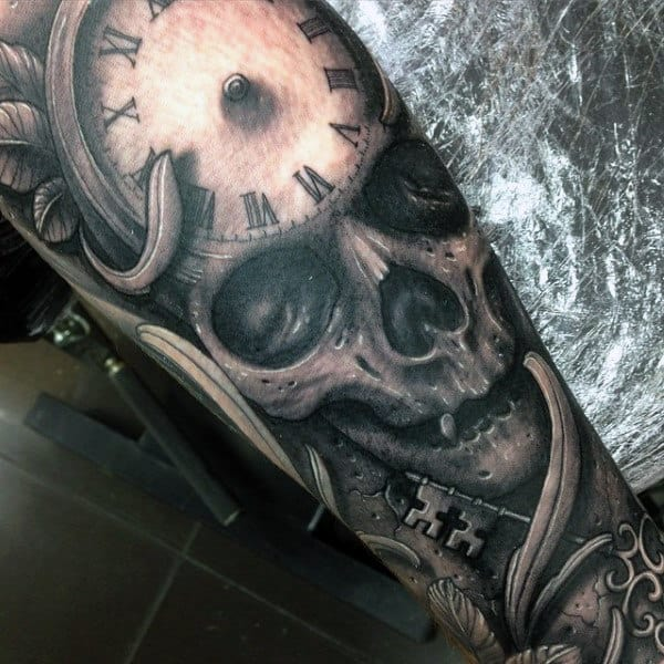 Black And Gray Clock And Skull Tattoos On Bicep: 50 Skull Sleeve Tattoos For Men