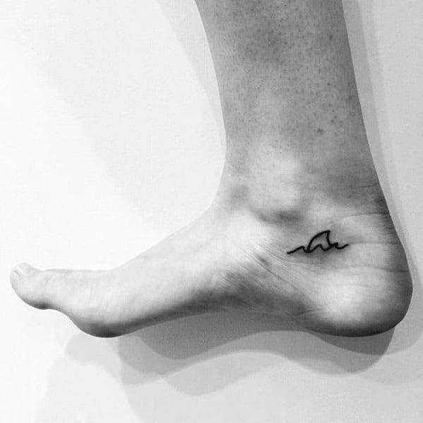 Cool Guys Small Simple Shark Fin Foot Tattoo