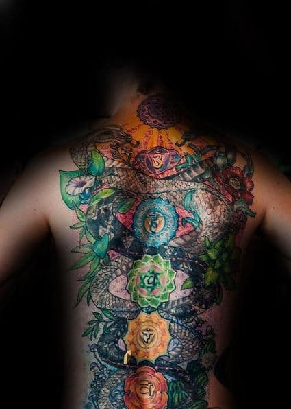 Cool Guys Snake Chakras Full Back Tattoos