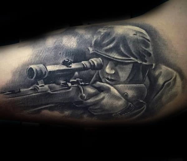 Cool Guys Sniper Solider Army Bicep Tattoo With Shaded Ink