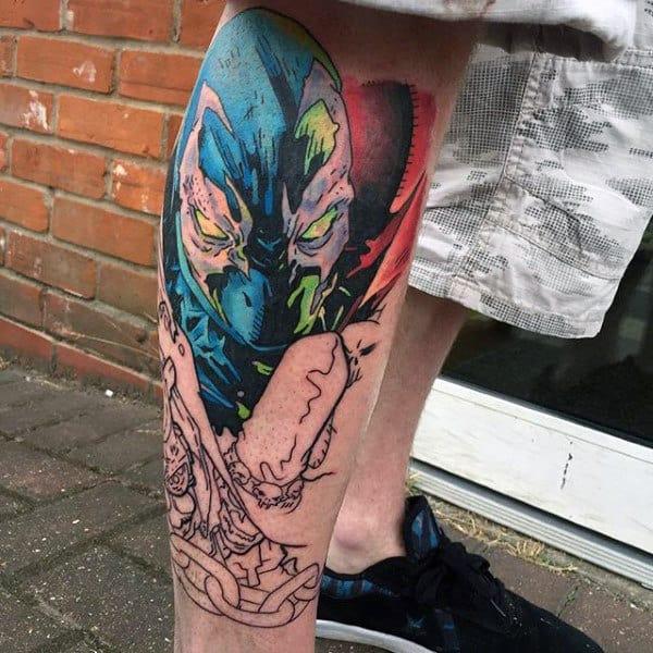 Cool Guys Spawn Leg Tattoo