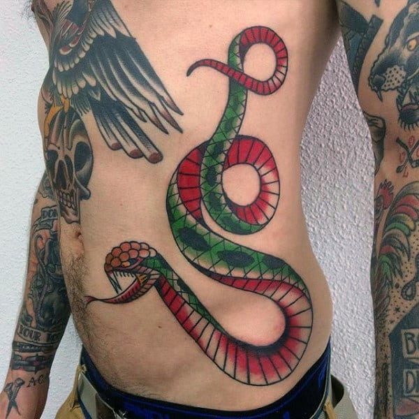 Cool Guys Traditional Snake Rib Cage Side Tattoos